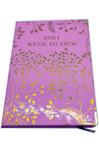 Load image into Gallery viewer, EJRange 2021 Diary A5 Week to View - Journal Notebook with Hardcover - Gold Foil Design (Pink)