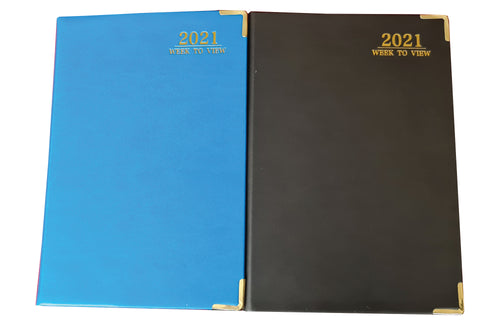 EJRange 2021 Diary A5 Week to View -PU Leather Cover, Gold Page Edges and Corners Runs 28th Dec 20 Till 2nd Jan 22