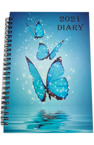 EJRange 2021 A5 Diary Week To View - Daily Planner Journal Notebook Spiral Bound Elastic Closure Ribbon Runs 28th Dec 20 till 2nd Jan 22