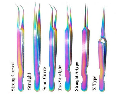 Set of 6 Individual Eyelash Extension Tweezers Stainless Steel Rainbow With Case