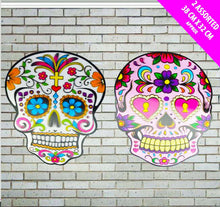 Load image into Gallery viewer, Halloween Hanging Decorations Glitter Skull Laser Sparkle Day of the Dead X 2