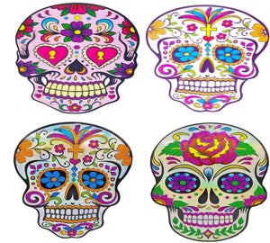 Halloween Hanging Decorations Glitter Skull Laser Sparkle Day of the Dead X 2