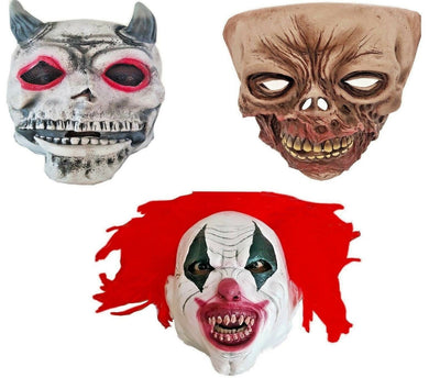 Halloween Masks Psycho Clown, Zombie, Devil Scary Horror Costume Fancy Dress