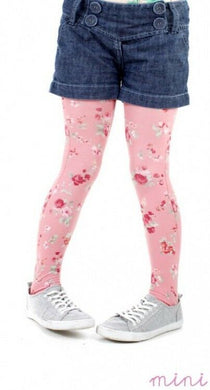 Childrens Ditsy Petite Flower Printed Tights -Pink