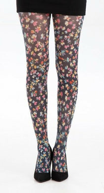Small Ditsy Floral printed tights-Black