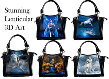 Load image into Gallery viewer, Anne Stokes Womens Lenticular 3D Art Handbags Fantasy Gothic Shoulder Bag Black