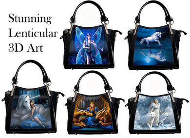 Anne Stokes Womens Lenticular 3D Art Handbags Fantasy Gothic Shoulder Bag Black