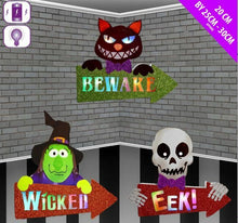 Load image into Gallery viewer, Halloween Wooden Character Signs Arrows Lights Up Decorations Family Friendly