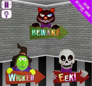 Halloween Wooden Character Signs Arrows Lights Up Decorations Family Friendly