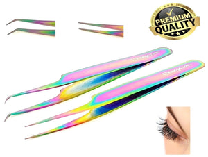 Eyelash Tweezers Straight Curved Individual Eyelash Extensions Beauty Rainbow