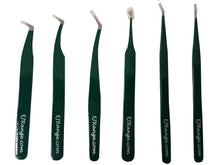 Load image into Gallery viewer, Eyelash Extension Tweezers Russian 3D 6D Volume Lash Extensions L-Shape Green