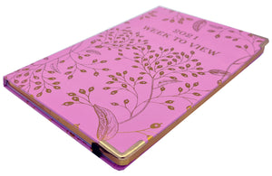 EJRange 2021 Diary A5 Week to View - Journal Notebook with Hardcover - Gold Foil Design (Pink)