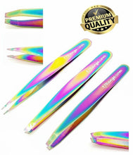Load image into Gallery viewer, Professional Eyebrow Tweezers Set of 3 - Slant,Straight,Point Tip Rainbow Finish