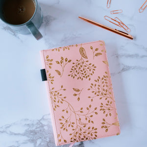 EJRange Notebook A5 Lined Journal - PU Leather, Wipe Clean Cover, Soft Feel, Ribbon, Ruled, 192 Pages, Gold Leaves Design