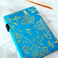 Load image into Gallery viewer, EJRange Notebook A5 Lined Journal - PU Leather, Wipe Clean Cover, Soft Feel, Ribbon, Ruled, 192 Pages, Gold Leaves Design