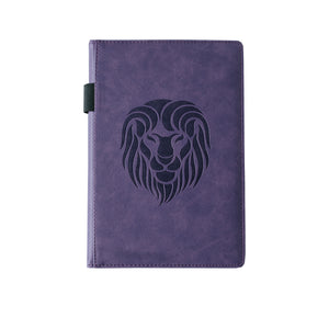 EJRange Notebook A5 Lined Journal - PU Leather, Wipe Clean Cover, Elastic Closure, Ribbon, Ruled, 192 Pages, Lion Design