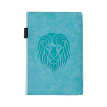 Load image into Gallery viewer, EJRange Notebook A5 Lined Journal - PU Leather, Wipe Clean Cover, Elastic Closure, Ribbon, Ruled, 192 Pages, Lion Design