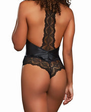 Load image into Gallery viewer, Dreamgirl Faux Leather and Lace Bodysuit