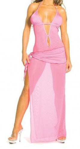 Mesh Gown With Sash