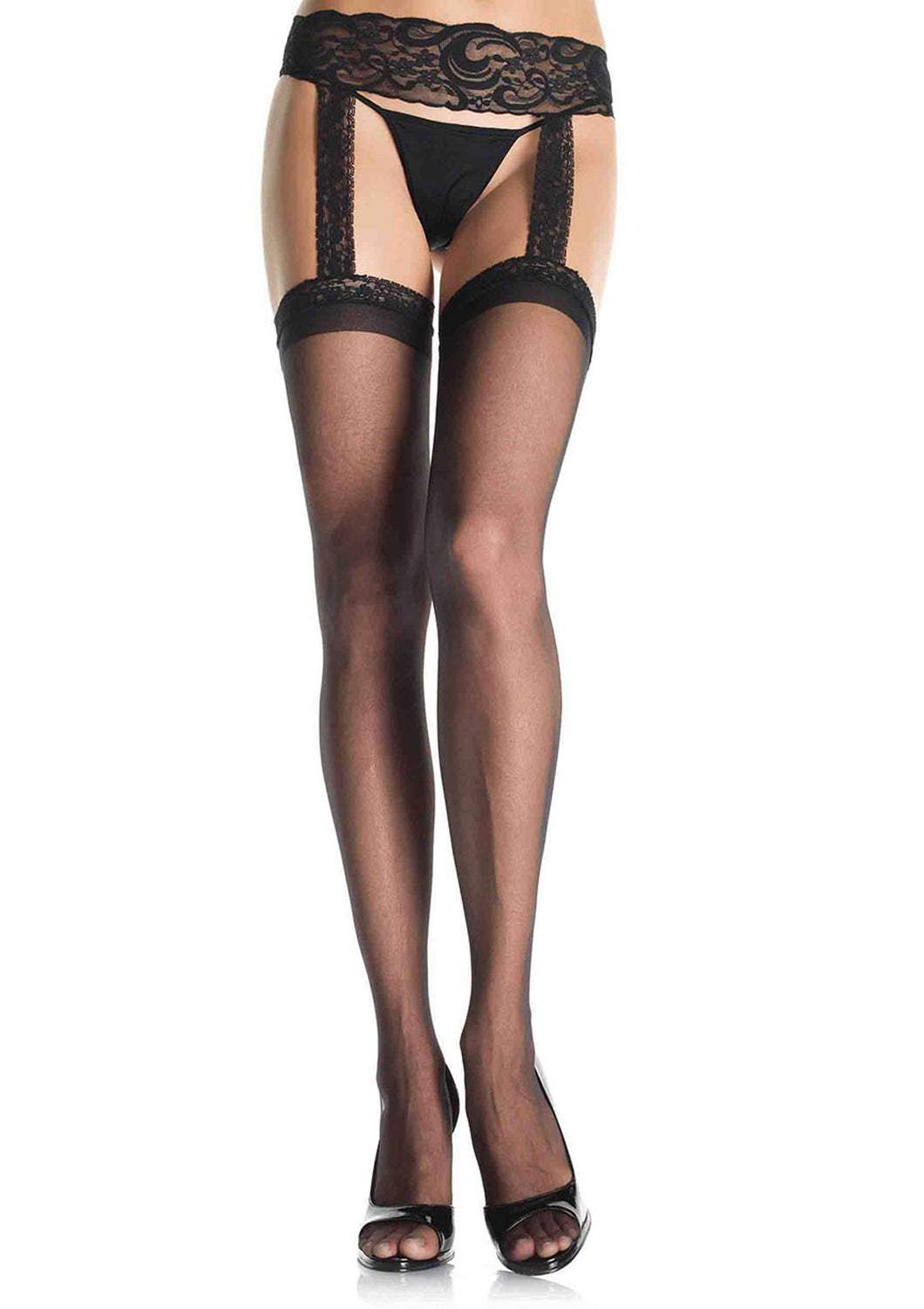 Sheer Lace Top Stockings W/Garter Belt