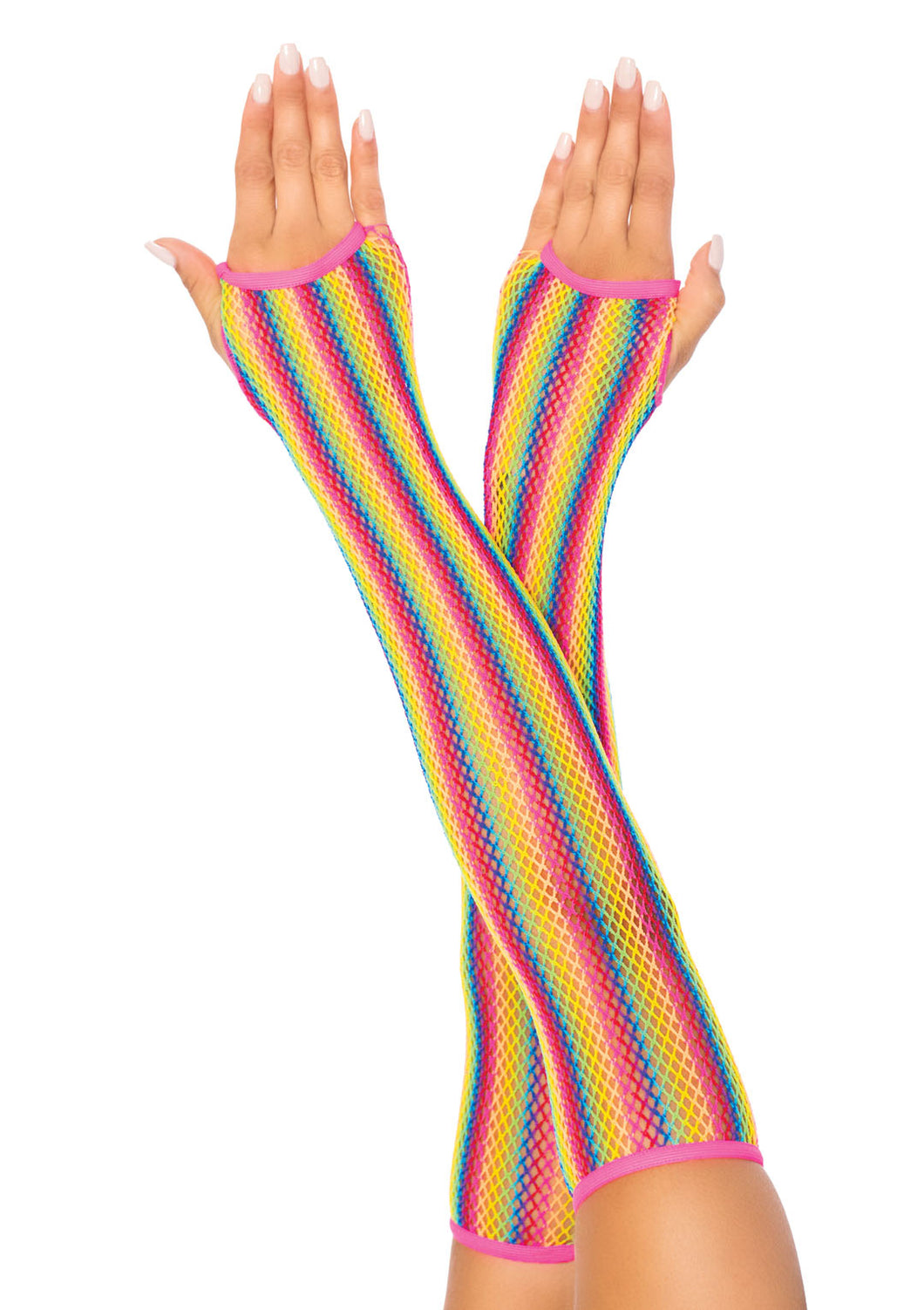 Rainbow Fishnet Armwarmers