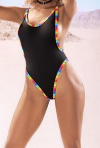 Mapale Black Bodysuit with Rainbow Trim