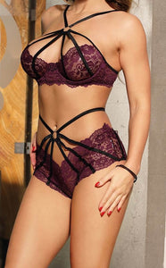 Cross strap Lingerie Two Piece Set