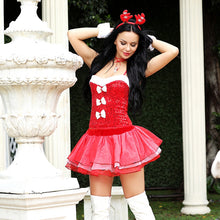 Load image into Gallery viewer, Red & White Reindeer Dress Set