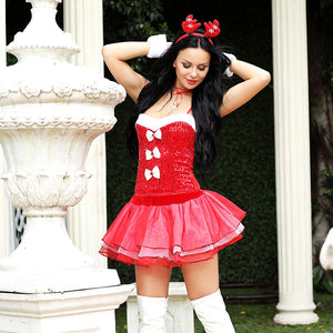 Red & White Reindeer Dress Set