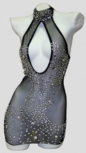 Load image into Gallery viewer, High Neck Mesh dress with Rhinestones