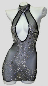 High Neck Mesh dress with Rhinestones