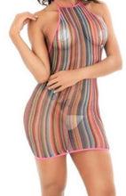Load image into Gallery viewer, Halter Top Styled Rainbow Fishnet Dress