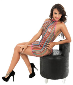 Halter Top Styled Rainbow Fishnet Dress