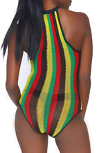 Load image into Gallery viewer, Rasta Fishnet Bodysuit