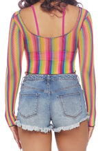 Load image into Gallery viewer, Rainbow Fishnet Crop Top