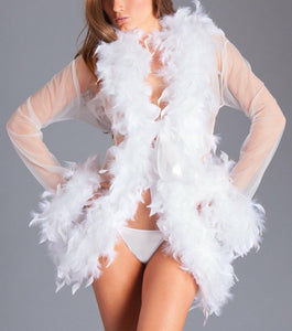 Maribou Feather Trimmed Short Glamour Robe