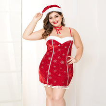 Load image into Gallery viewer, Sexy Red Dress with Snowflake Design