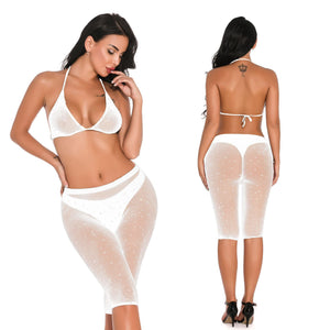 Crystal Rhinestone Fishnet Top and Shorts Set