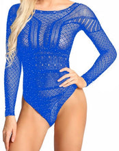 Load image into Gallery viewer, Long Sleeve Rhinestone Bodysuit