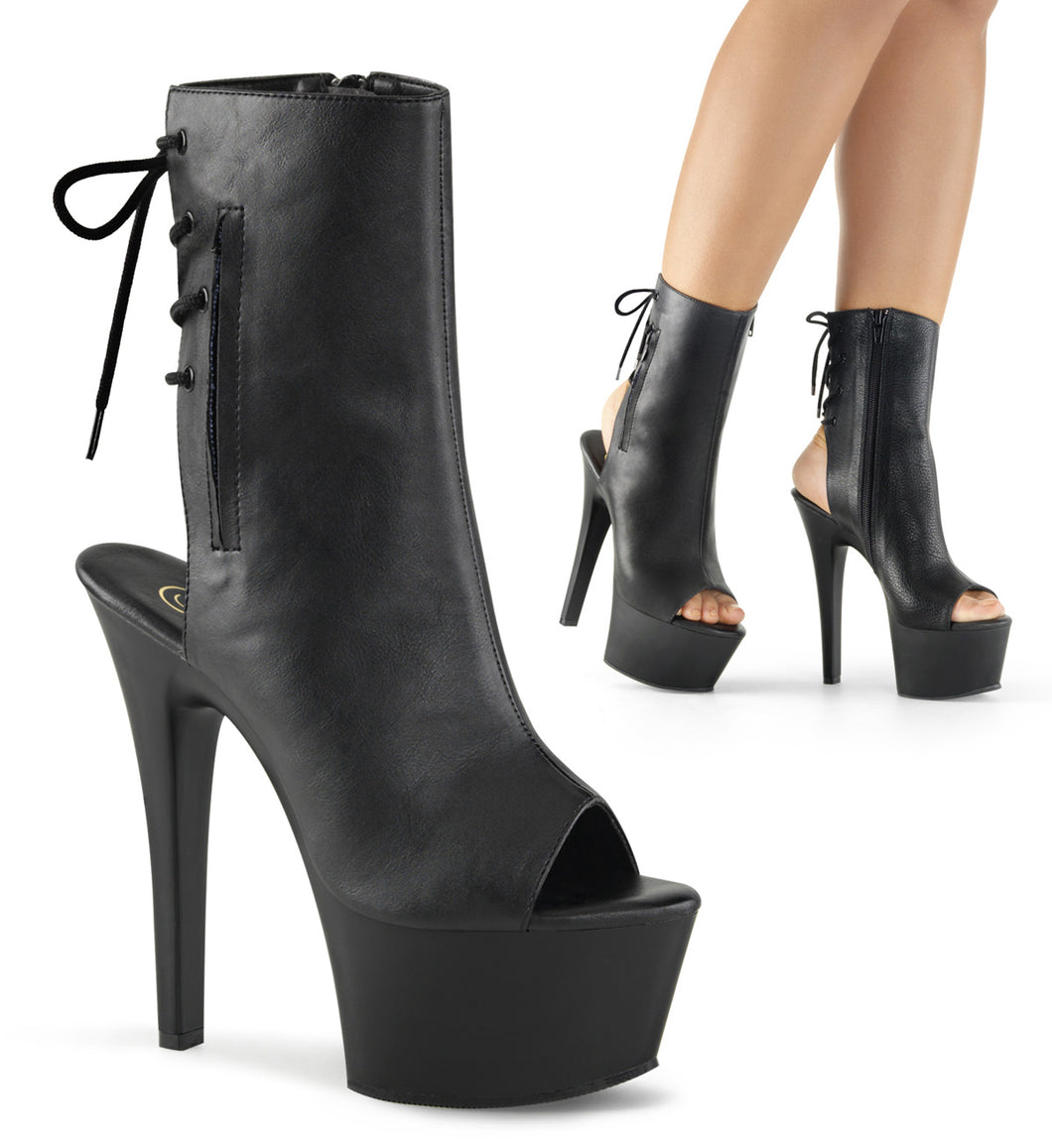 Pleaser Aspire-1018 Open Toe Platform Ankle Boot With Pocket Smooth Veggie Leather WIDE WIDTH