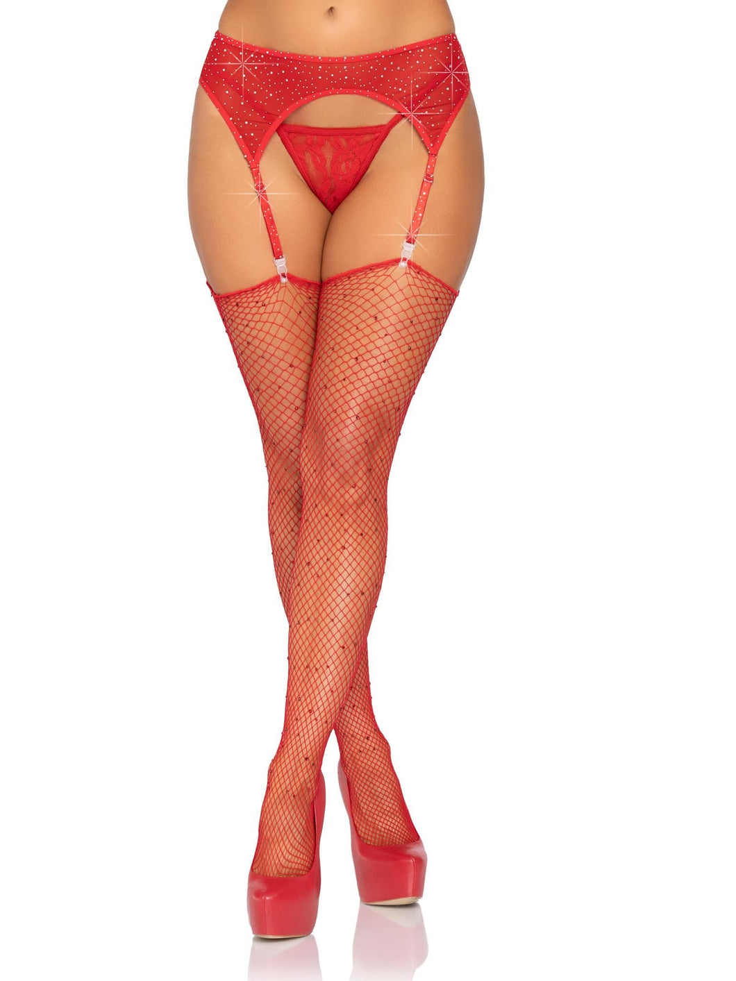 Red Rhinestone Garter Belt