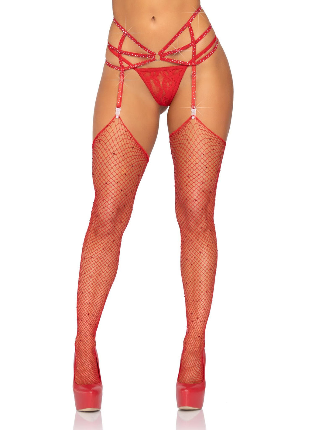 Red Strappy Rhinestone Garter Belt