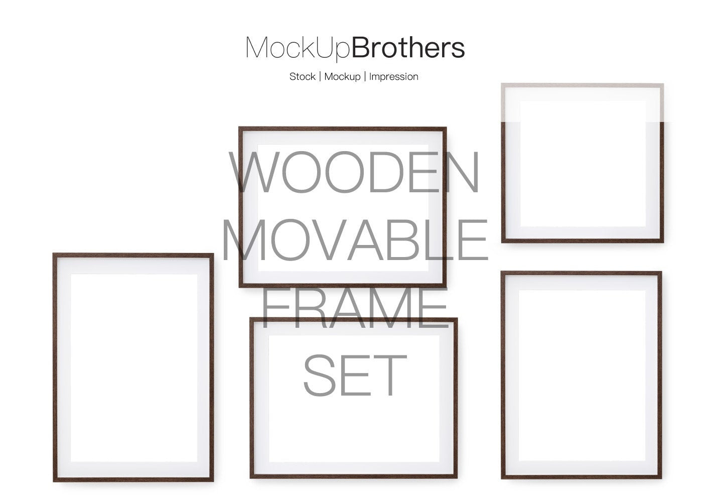 Movable Frame Mockup Set wood