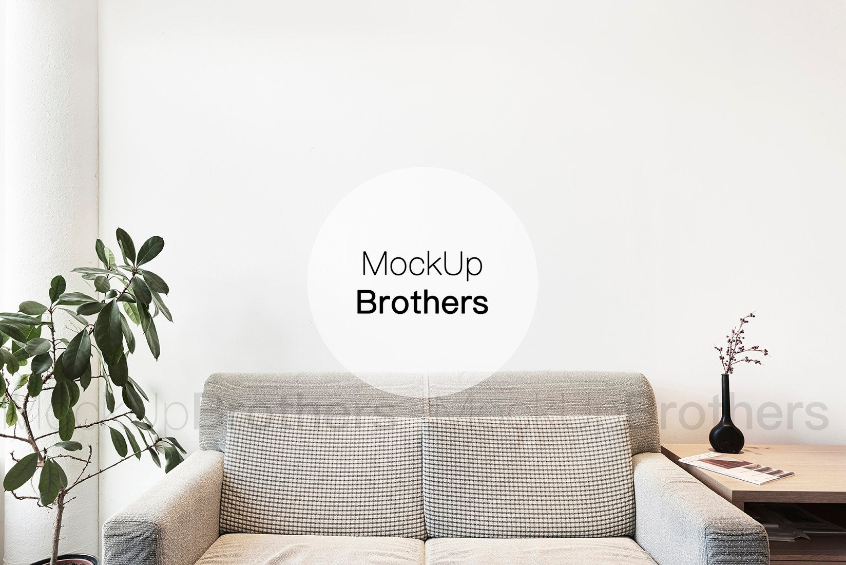 Interior mockup with sofa and blank wall by Mockup Brothers