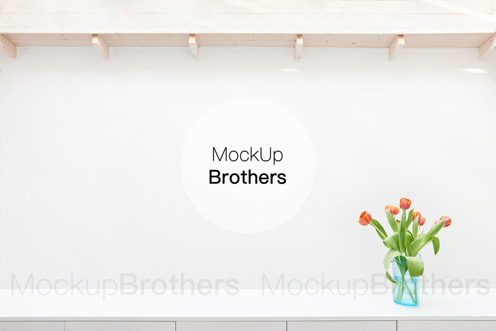 Wide white wall for paintings by mockup Brothers