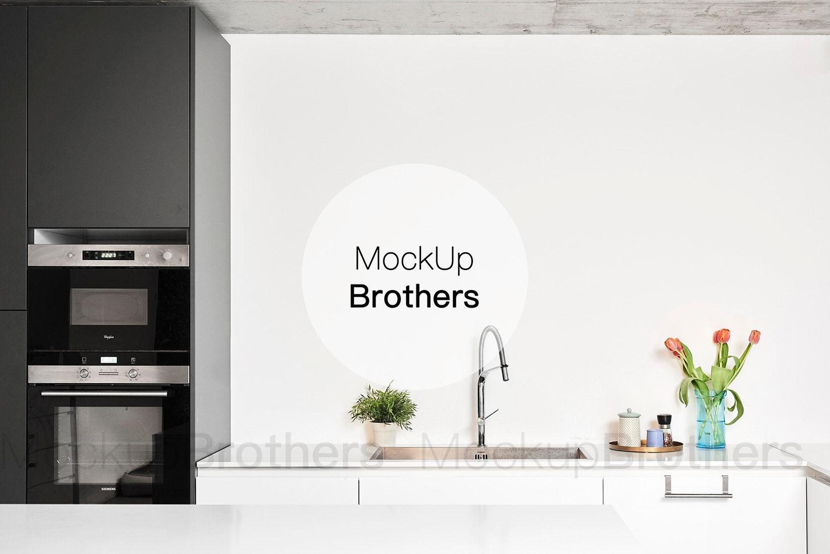 modern kitchen wall mockup by MOckup Brothers
