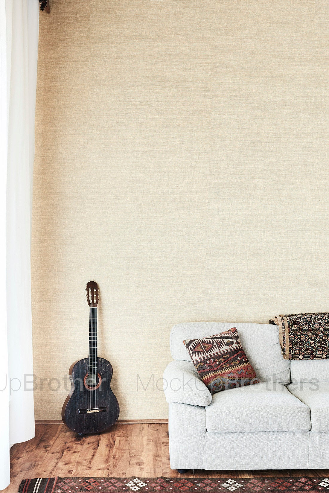Living room stock photo with guitar