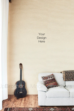 Interior stock photography with guitar and sofa