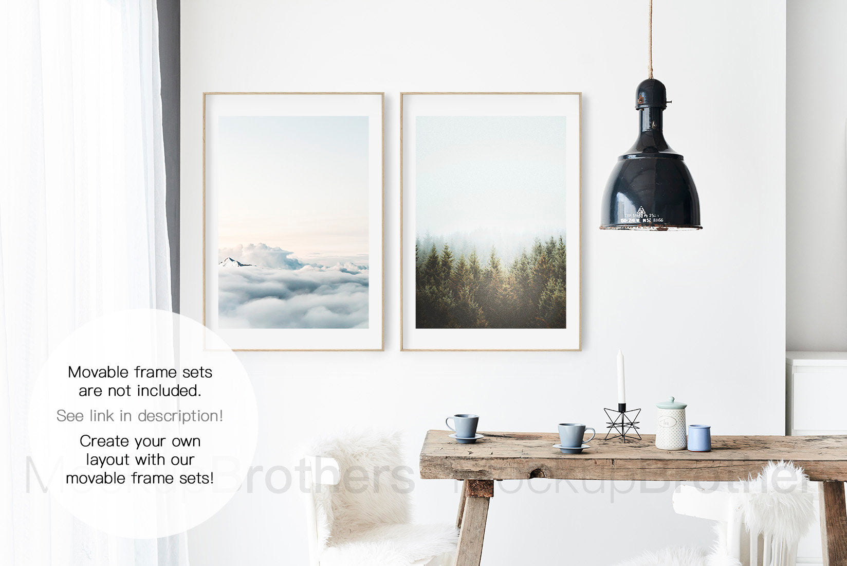 Wall art mockup in nordic interior