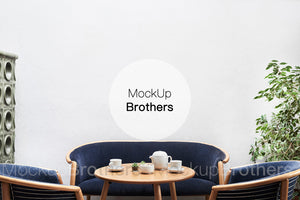 tea party room mockup with blank wall by mockup Brothers